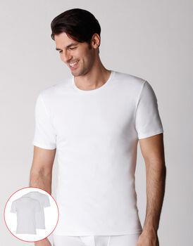 T-shirt girocollo uomo in cotone biologico, confezione x2 bianco, , LOVABLE