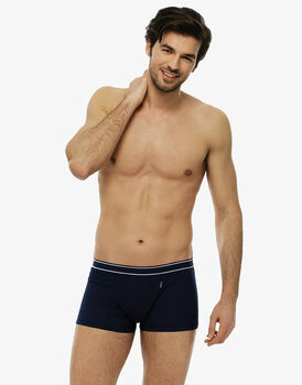 Short boxer blu navy in cotone a costine modal-LOVABLE
