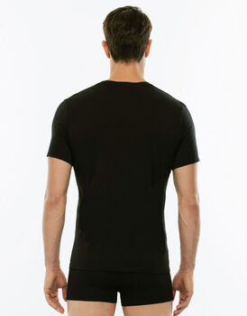 T-Shirt Cotton Stretch nero in cotone elasticizzato con scollo a V profondo-LOVABLE