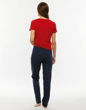 Pigiama manica corta gamba lunga, stampa a righe, in jersey di cotone-LOVABLE