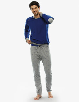 Pigiama manica e gamba lunga blu royal in jersey-LOVABLE