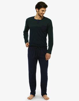 Pigiama manica e gamba lunga righe blu navy e verde cappero in jersey di cotone con taschino-LOVABLE
