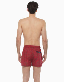 Short boxer in tessuto tecnico asciugatura rapida, rosso e stampa blu, , LOVABLE