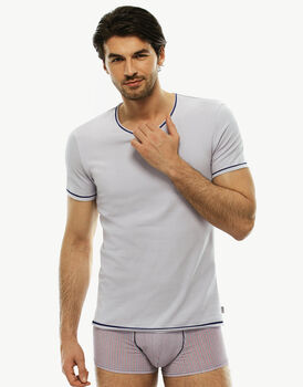 T-shirt manica corta ghiaccio, in cotone elasticizzato con scollo a V-LOVABLE