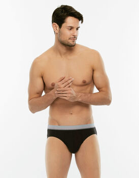 Slip Cotton 3D Flex nero in tessuto 3D Flex extra stretch-LOVABLE