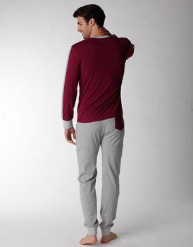 Pigiama uomo lungo con scollo a V in 100% cotone jersey, bordeaux, , LOVABLE