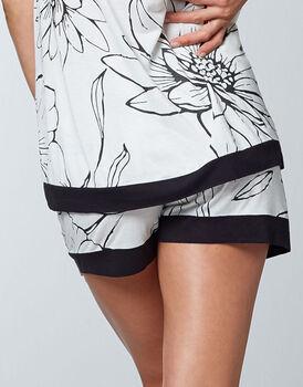Pantaloncino pigiama 100% modal, bianco stampa a fiori, , LOVABLE
