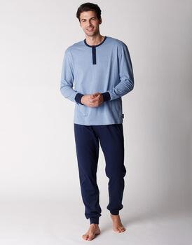 Pigiama uomo manica e gamba lunga, 100% cotone, azzurro stampato, , LOVABLE