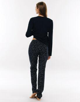 Pigiama manica e gamba lunga blu notte in jersey di cotone con pantalone con stampa costellazioni -LOVABLE