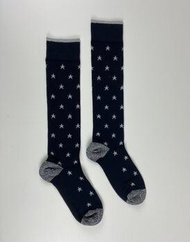 Calza lunga Fancy Allover, blu con stelline argento, , LOVABLE