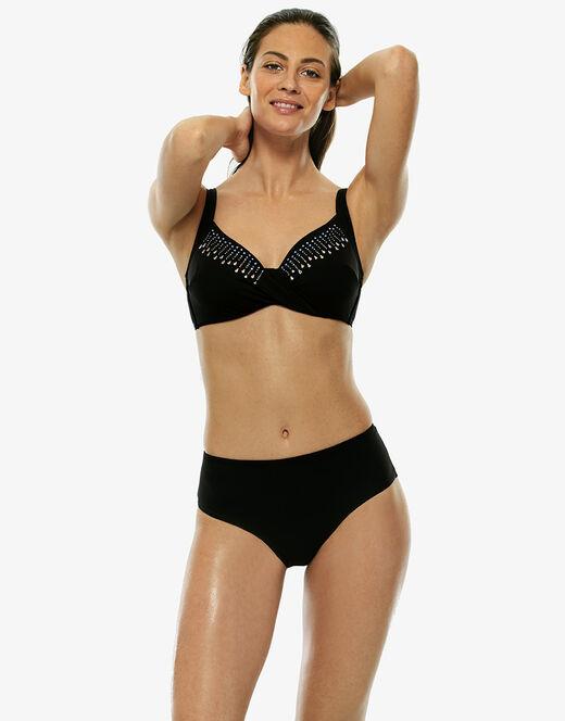 release date: 94989 1224e Bikini nero in microfibra e applicazioni termosaldate