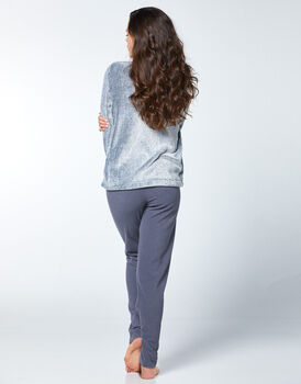 Homewear in pile e pelliccetta, grigio scuro, , LOVABLE