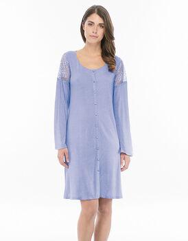 Camicia da notte a perta manica lunga azzurro in modal e pizzo con scollo rotondo-LOVABLE