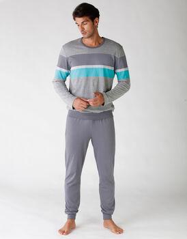Pigiama uomo manica e gamba lunga, in jersey, grigio melange, , LOVABLE