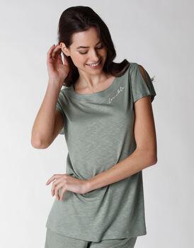 Maglia del pigiama a manica corta in viscosa, verde, , LOVABLE