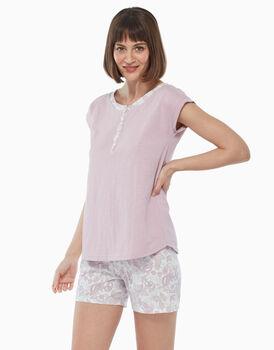 Pigiama corto in jersey di cotone, rosa malva, , LOVABLE