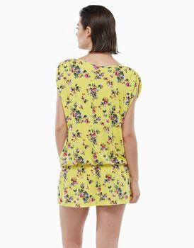 Abito in viscosa stampata, fiori fondo giallo, , LOVABLE