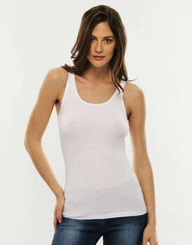 Top spalla larga Basic Soul, bianco in cotone supima-LOVABLE