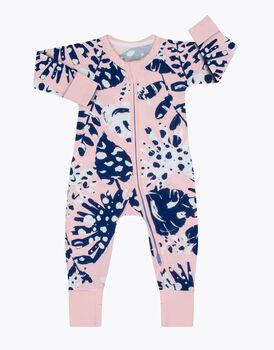 Tutina in cotone elasticizzato, stampa tropicale rosa e blu, , LOVABLE