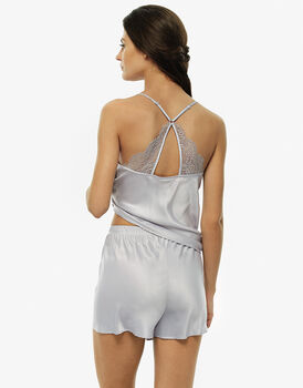 Pigiama top e culotte grigio, in raso-LOVABLE