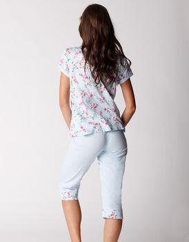 Pigiama manica corta e pinocchietto in jersey 100% cotone, fiori su azzurro, , LOVABLE