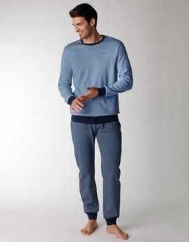 Pigiama uomo lungo in 100% cotone interlock, blu polvere, , LOVABLE