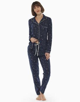 Pigiama aperto manica e gamba lunga blu stampato in jersey di cotone modal, , LOVABLE