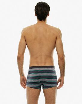 Boxer grigio rigato in cotone fiammato-LOVABLE