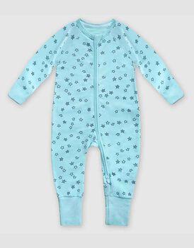 Tutina lunga con zip in cotone elasticizzato, colore azzurro con stelline blu, , LOVABLE