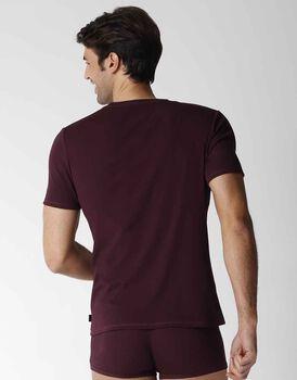 T-shirt uomo manica corta con scollo a V in cotone modal, bordeaux, , LOVABLE