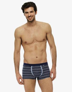 Short boxer rigato blu brillante in cotone elasticizzato-LOVABLE