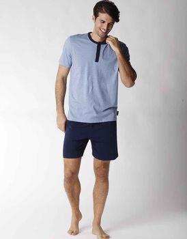 Pigiama uomo corto in jersey 100% cotone, azzurro con stampa cubi, , LOVABLE