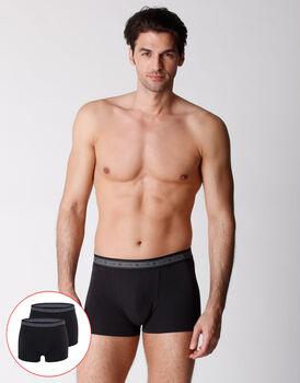 Boxer uomo in cotone biologico, confezione x2 nero, , LOVABLE