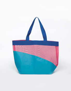 Borsa mare color Chevron in rete con manico in cotone-LOVABLE