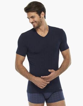 T-shirt manica corta blu notte in micromodal con scollo a V, , LOVABLE
