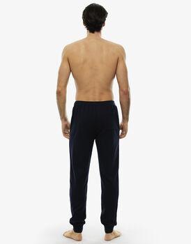 Pantalone lungo blu notte in felpa leggera con tasca sul retro , , LOVABLE