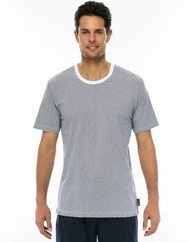 Maglia manica corta rigato grigio in jersey di cotone girocollo-LOVABLE