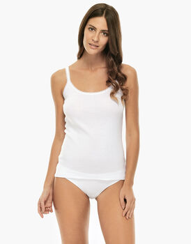 Top Basic Soul bianco in cotone e pizzo-LOVABLE