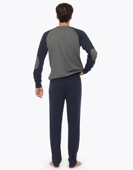 Pigiama lungo in jersey, grigio melange stampato, , LOVABLE