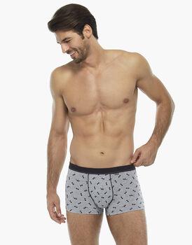 Boxer in cotone elasticizzato, grigio stampa occhiali , , LOVABLE