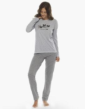 Pigiama manica e gamba lunga, grigio mélange, in jersey di cotone, chiuso, , LOVABLE