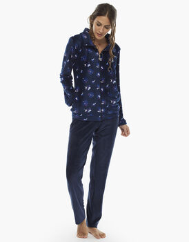 Homewear manica e gamba lunga blu stampato, in ciniglia, aperto con zip, , LOVABLE