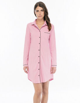 Camicia da notte aperta manica lunga rosa in cotone modal con taglio camicia e profili in raso-LOVABLE