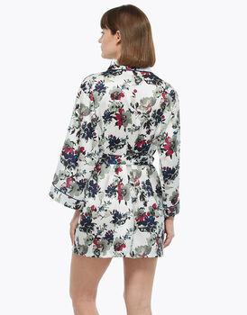 Vestaglia kimono, fiore, in satin con manica a tre quarti e cintura, , LOVABLE