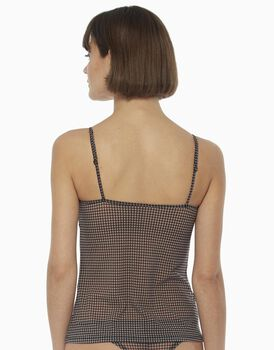 Top in tulle stampato, pied de poule, , LOVABLE