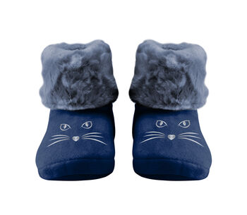 Stivaletto blu stampa gatto con interno in pelliccia-LOVABLE
