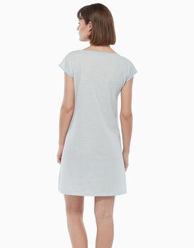 Camicia da notte in jersey di cotone, azzurro e natural melange, , LOVABLE