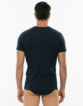 T-Shirt girocollo Cotton Stretch grigio blu in cotone elasticizzato-LOVABLE
