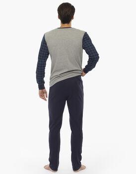 Pigiama manica e gamba lunga, grigio mélange stampato, in interlock di cotone, , LOVABLE