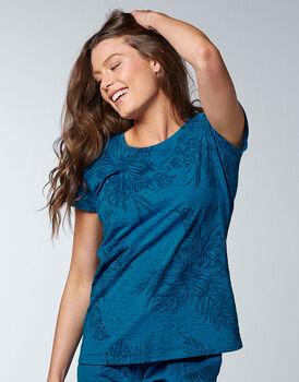 Maglia a manica corta pigiama Printed Devorè, blu zaffiro, , LOVABLE